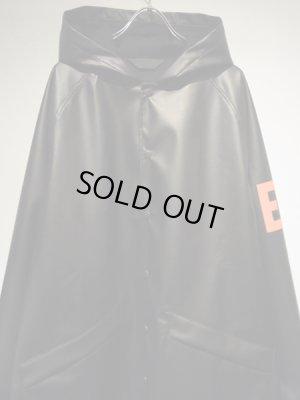 画像1: ESSAY(エッセイ) PUレザー フーデッドコート ブラック