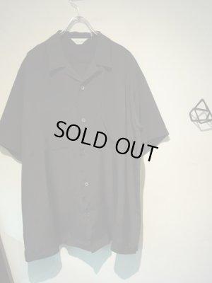 画像2: UNUSED(アンユーズド) オープンカラー レーヨンシルクショートスリーブシャツ ブラック