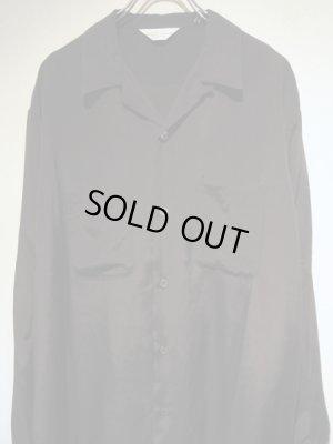 画像1: UNUSED(アンユーズド) オープンカラー ロングスリーブレーヨンシャツ ブラック