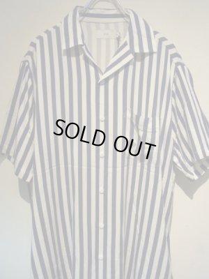 画像1: onia(オニア) オープンカラー レーヨンミックス ストライプシャツ ブルー×ホワイト
