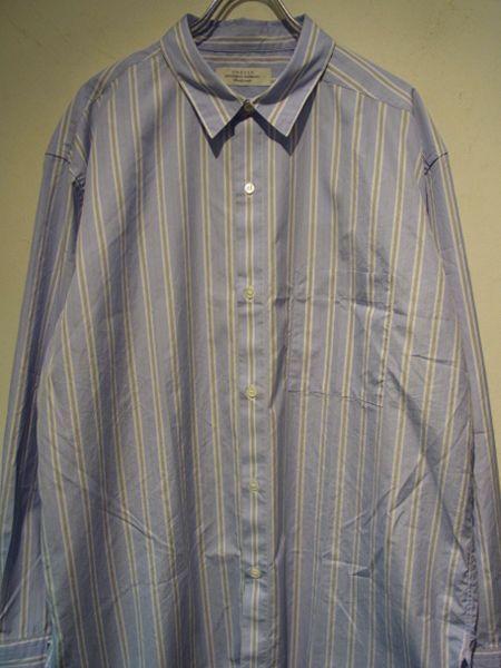 画像1: UNUSED(アンユーズド) アシンメトリー ストライプシャツ ブルーストライプ